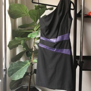 Black with Purple Leather One Shoulder Dress